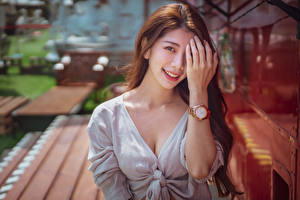 Wallpaper Asian Watch Bokeh Smile Hands Staring female