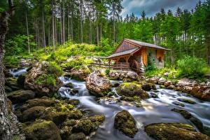 Desktop wallpapers Austria Mountain Stones Stream Trees Water mill Moss Schwarzbach Creek Nature