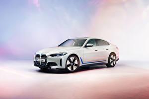 Wallpaper BMW White 2021 i4 Worldwide automobile