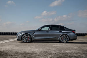 Bilder BMW Graues Metallisch Seitlich M3 Competition xDrive, Worldwide, (G80), 2021 Autos