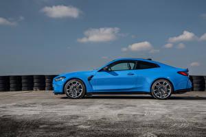Hintergrundbilder BMW Seitlich Hellblau Metallisch Coupe M4 Competition xDrive, Worldwide, (G82), 2021