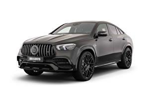 Desktop wallpapers Brabus Black Metallic White background 500 (C167), 2020 Cars