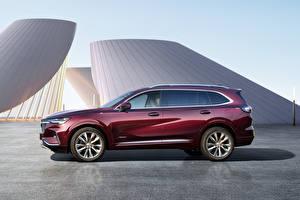 Hintergrundbilder Buick Seitlich Metallisch Crossover Bordeauxrot Envision Plus Avenir, China, 2021 automobil