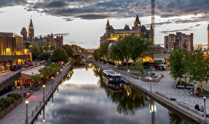 Picture Canada Houses Riverboat Waterfront Street lights Ottawa Cities