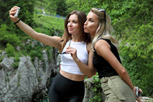 Pictures Cara Mell Blonde girl Two Selfie Eyeglasses Smartphone Stefani Girls