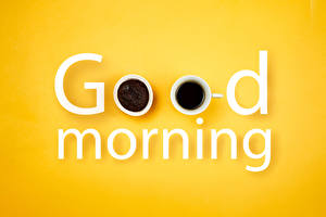 Picture Coffee Colored background Word - Lettering English Cup good morning Food
