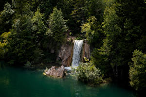 Pictures Croatia Parks Lake Waterfalls Crag Trees Plitvice Lakes National Park