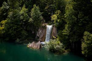 Fotos Kroatien Park See Wasserfall Felsen Bäume Plitvice Lakes National Park Natur