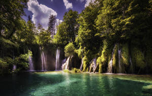 Pictures Croatia Park Waterfalls Lake Crag Trees Plitvice Lakes National Park