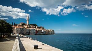 Picture Croatia Sea Building Waterfront Clouds Rovinj