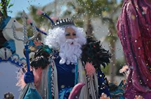 Desktop hintergrundbilder Krone Karneval und Maskerade Bärte Konfetti Neptune