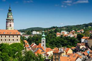 Bilder Tschechische Republik Haus Türme Chesky-Krumlov Städte