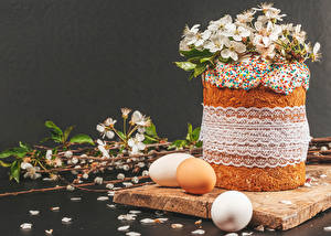 Fondos de escritorio Pascua Kulitsch Fondo gris Huevo Rama Pétalo Alimentos