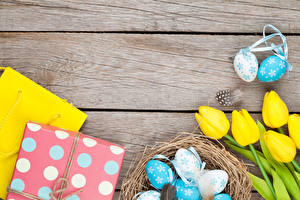 Pictures Easter Tulip Boards Nest Eggs Gifts Yellow Flowers Food