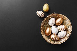 Fondos de escritorio Pascua Cesta de mimbre Huevo