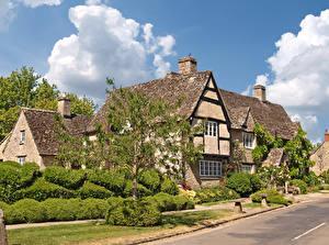 Fonds d'écran Angleterre Maison Rue Arbrisseau Arbres Minster Lovell, Oxfordshire Villes