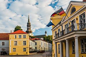 Image Estonia Tallinn Building Church Clouds Flag Toomkirik