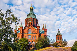 Picture Finland Helsinki Cathedral Clouds Uspenski Cathedral Cities