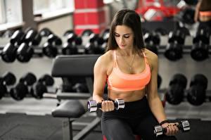 Bilder Fitness Bokeh Brünette Sitzt Hand Hantel Körperliche Aktivität junge frau Sport