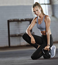 Picture Fitness Posing Blonde girl Kettlebell Uniform Hands Legs female