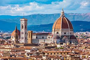 Desktop hintergrundbilder Florenz Italien Kathedrale Haus Kuppeln Santa Maria del Fiore Städte