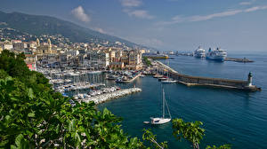 Photo France Coast Pier Cruise liner Yacht Boats Houses Bastia, Corsica