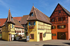 Pictures France Houses Design Street lights Eguisheim