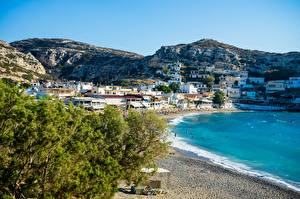 Desktop hintergrundbilder Griechenland Insel Strände Hügel Crete Städte
