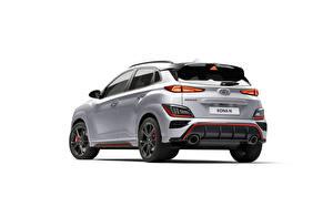 Wallpapers Hyundai Silver color Metallic Back view White background Kona N, (Worldwide), (OS), 2021 automobile
