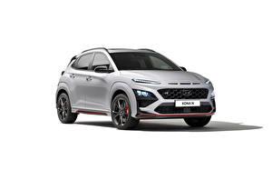 Images Hyundai Silver color Metallic White background Kona N, (Worldwide), (OS), 2021 Cars