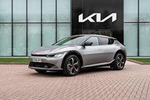 桌面壁纸,,起亚汽车,灰色,金屬漆,EV6, (Worldwide), 2021,汽车