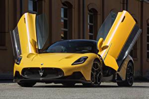 Desktop wallpapers Maserati Yellow Metallic Coupe Opened door MC20 Coupe, (Worldwide), (M240), 2021 automobile