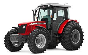 Fotos & Bilder Traktor Rot Weißer hintergrund Massey Ferguson 4299 Cabinado, 2010-14 Mädchens