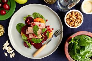 Fotos & Bilder Fleischwaren Rote Bete Teller Gabel Lebensmittel