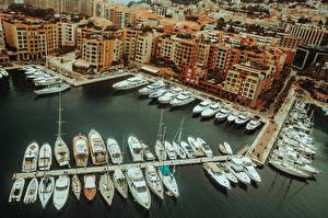 Desktop wallpapers Monte Carlo Monaco Berth Yacht From above Cities