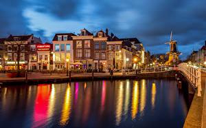 Fotos Niederlande Gebäude Kanal Waterfront Leiden
