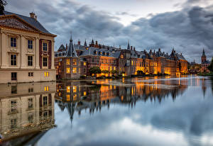 Pictures Netherlands Houses Pond Clouds Reflection The Hague, Hofvijver