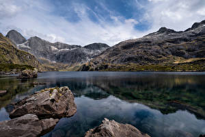 Wallpapers New Zealand Mountains Stones Lake Crag Lake Adelaide Nature