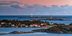 Picture Norway Coast Lighthouses Building Parks Panoramic Arendal, Raet national park Nature