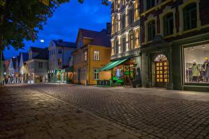 Wallpaper Norway Evening Houses Street Bergen Cities