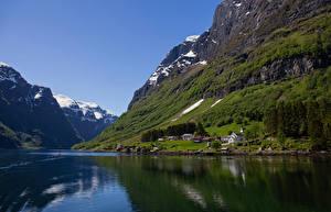 Hintergrundbilder Norwegen Gebirge Fjord