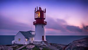 Desktop wallpapers Norway Ocean Lighthouses Evening Nature