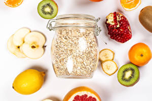 Image Oatmeal Pomegranate Kiwifruit Lemons Mandarine Apples Jar Grain Food