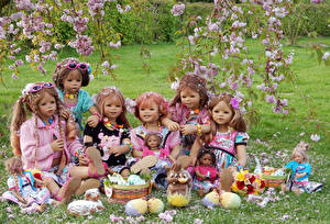 Desktop wallpapers Park Easter Germany Spring Flowering trees Rabbits Little girls Doll Eggs Grugapark Essen Nature