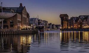 Wallpaper Poland Houses Evening Pier Canal Street lights Gdansk Cities