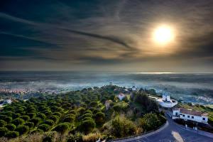 Fotos Portugal Burg Gebäude Nebel Sonne Castelo de Palmela Städte