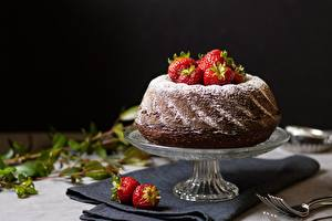 Desktop wallpapers Pound Cake Strawberry Fork Food