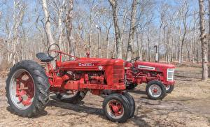 Desktop wallpapers Retro Tractor 2 Red Trees Farmall H automobile