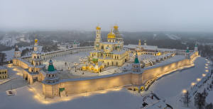 Wallpapers Russia Moscow Temple Monastery Winter Snow Rays of light New Jerusalem Monastery Moscow Region Cities