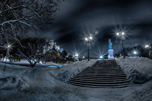 Desktop wallpapers Russia Winter Monuments Temples Night time Snow Stairway Street lights Smolensk Cities